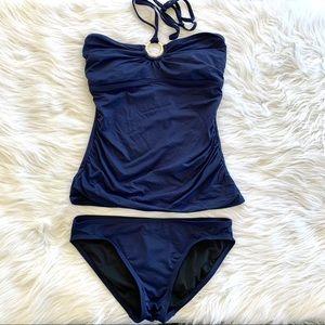 Michael Kors Navy Halter Tankini Bikini Swim Set